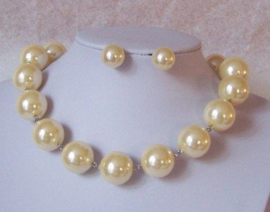 25mm OFF WHITE CREAM BEIGE FAUX PEARL NECKLACE SET