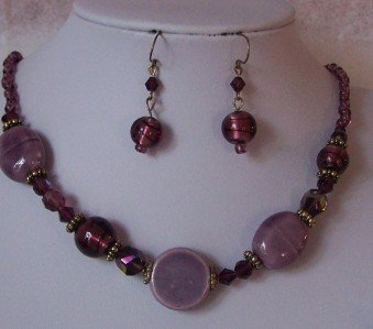 PURPLE LAVENDER GLASS LAMPWORK MIXED NECKLACE SET