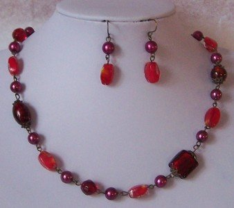 RED SIAM PEARL GLASS LAMPWORK MIXED NECKLACE SET