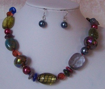 BLUE RED MULTICOLOR PEARL GLASS LAMPWORK NECKLACE SET