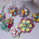 CHUNKY PINK YELLOW BLUE BEAD FLOWER FLORAL NECKLACE SET