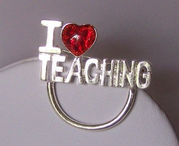 I LOVE TEACHING TEACHER EYEGLASS ID BADGE BROOCH PIN