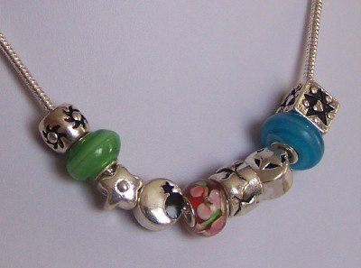 BLUE GREEN MOON STAR GLASS LAMPWORK BEAD CHARM NECKLACE