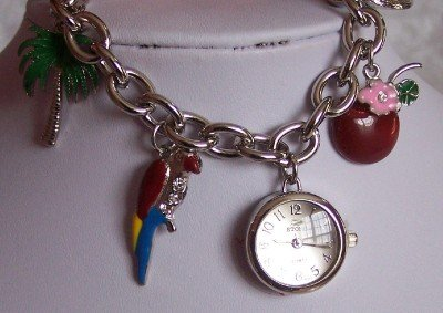 TROPICAL BEACH PALM TREE PARROT COCKTAIL BRACELET WATCH