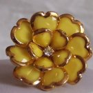 YELLOW CHUNKY FLOWER FLORAL COCKTAIL RING