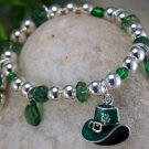 KIDS CHILDRENS GIRLS IRISH SHAMROCK FOUR LEAF BRACELET