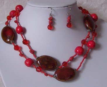 LONG RED SIAM CERAMIC WOOD MIXED BEAD NECKLACE SET
