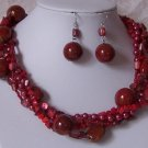 RED WESTERN TURQUOISE GEMSTONE MIXED PEARL NECKLACE SET