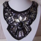 BLACK JEWELED ANIMAL PRINT BIB STATEMENT NECKLACE SET