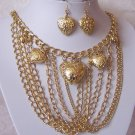 VALENTINES DAY GOLD PLATED HEART MULTI CHAIN NECKLACE SET