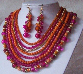 Hot Pink Fuchsia Orange Glass Resin Bead Necklace Set