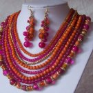 Hot Pink Fuchsia Orange Glass Resin Bead Necklace Set