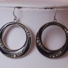 Antique Style Black Western Art Deco Style Crystal Hoop Circle Earrings