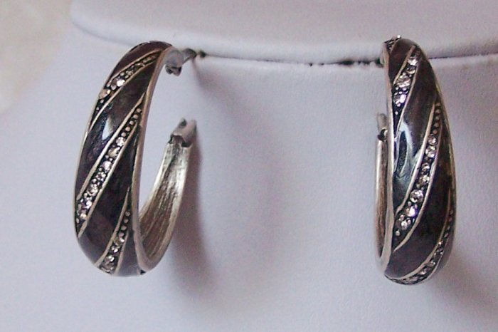 Antique Style Black Gray Grey Western Art Deco Style Crystal Hoop Circle Earrings