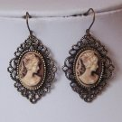 Antique Style Victorian Look Brown Lady Cameo Earrings