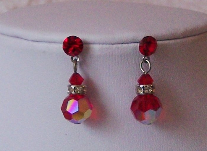 Red Swarovski Clear Crystal Sterling Silver Earrings