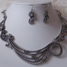 Gray Grey Antique Style Metal Art Necklace Set