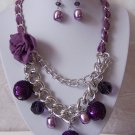 Purple Flower Floral Metal Fabric Multichain Necklace Set