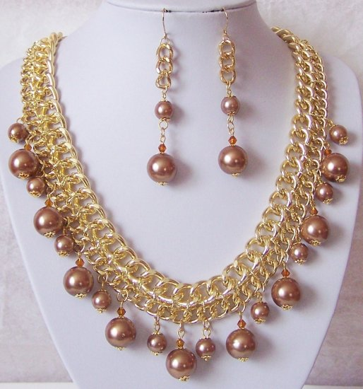 Brown Champagne Faux Pearl Statement Multichain Necklace Set