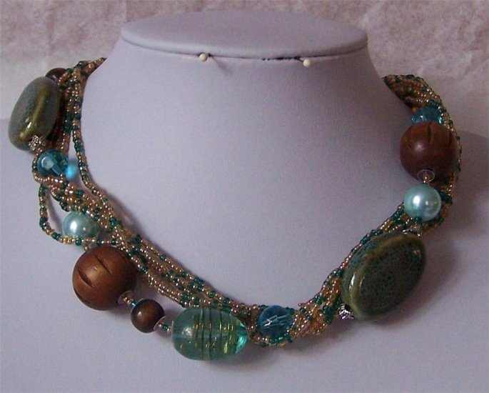 Blue Brown Multistrand Wood Glass Lampwork Necklace Set