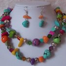 Western Multicolor Turquoise Blue Purple Pink Necklace Set