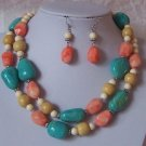 Multicolor Blue Peach Beige Off White Long Necklace Set