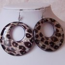 Chunky Black Animal Print Leopard Cheetah Hoop Earrings