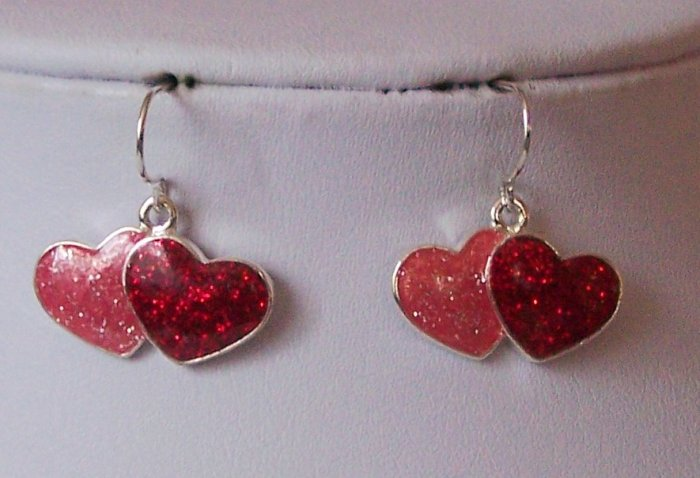 Red Pink Heart Love Valentines Day Earrings