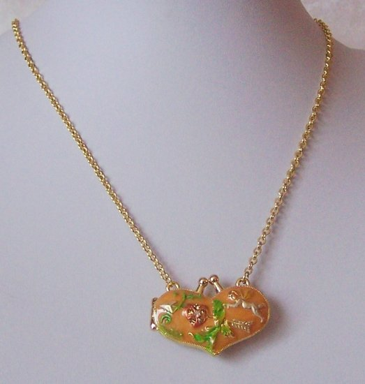 Orange Heart Love Locket Necklace