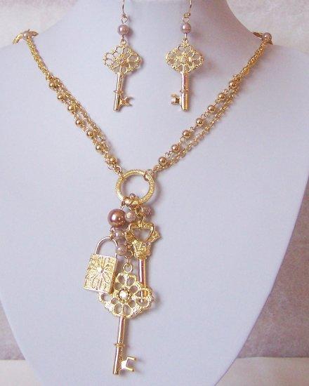Long Gold P Key Locket Faux Pearl Crystal Necklace Set