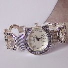 SILVER TONE WESTERN COWGIRL HORSESHOE BANGLE WATCH