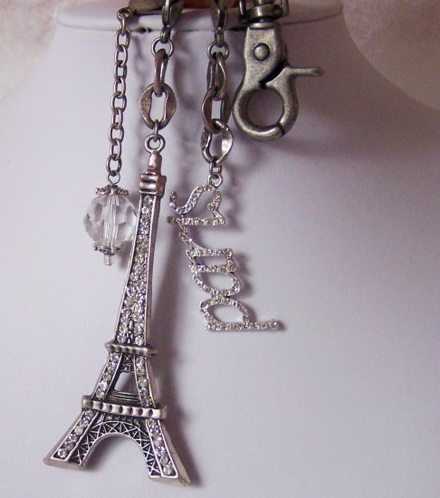 France Paris Eiffel Tower Keychain Key Chain Crystal Charm