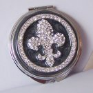 Black French Fleur De Lis Flower Crystal Compact Mirror