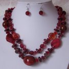 Red Turquoise Glass Mixed Bead Multistrand Necklace Set