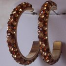 BROWN TOPAZ SWAROVSKI CRYSTAL HOOP EARRINGS