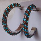 NEW BROWN BLUE ZIRCON SWAROVSKI CRYSTAL HOOP EARRINGS