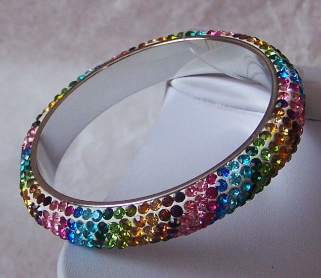 MULTICOLOR SWAROVSKI CRYSTAL BANGLE BRACELET