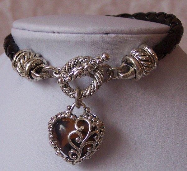 Western Brown Black Love Heart Valentines Day Charm Bracelet