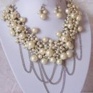 Beige Cream Off White Faux Pearl Multichain Necklace Set