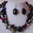 Black Red Multistrand Necklace Set