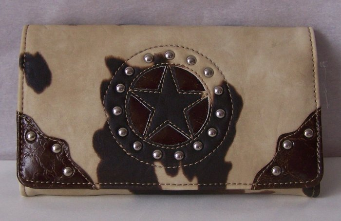 WESTERN BROWN LEATHER STYLE TEXAS STAR COWPRINT WALLET
