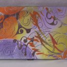 PINK ORANGE SILVER YELLOW PRINT WALLET