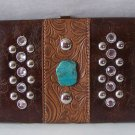 BROWN WESTERN TURQUOISE CRYSTAL CHECKBOOK WALLET