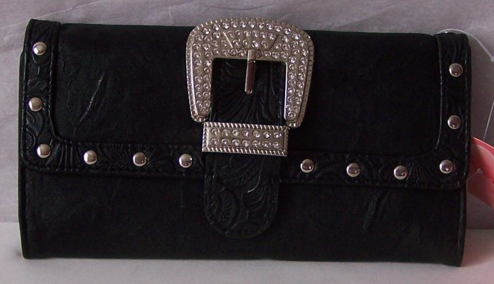 BLACK WESTERN CHECKBOOK WALLET