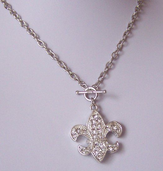 French Fleur De Lis Flower Clear Crystal Necklace