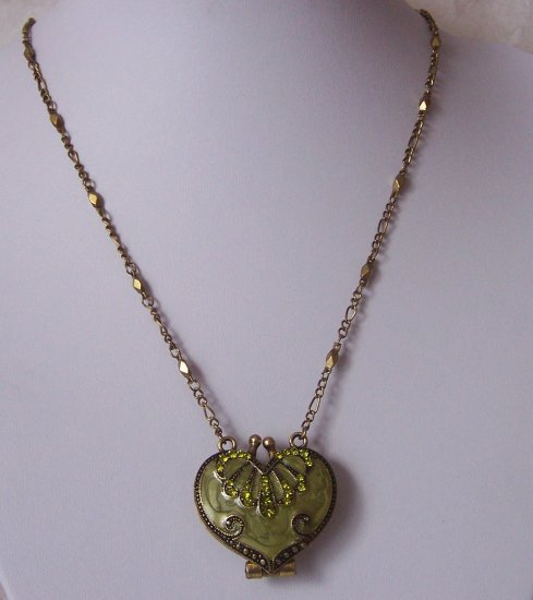 Green Heart Love Valentines Day Austrian Crystal Purse Locket Necklace