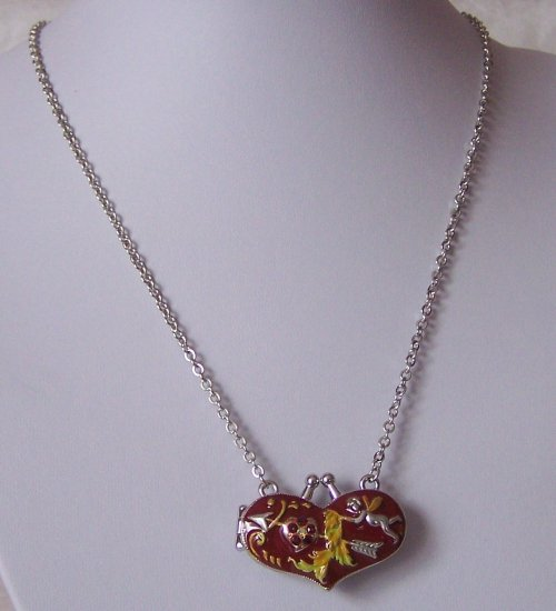 Red Heart Love Valentines Day Angel Cupid Austrian Crystal Purse Locket Necklace