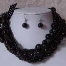 Black Mulstistrand Glass Pearl Necklace Set