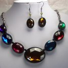 Multicolor Brown Red Blue Necklace Set