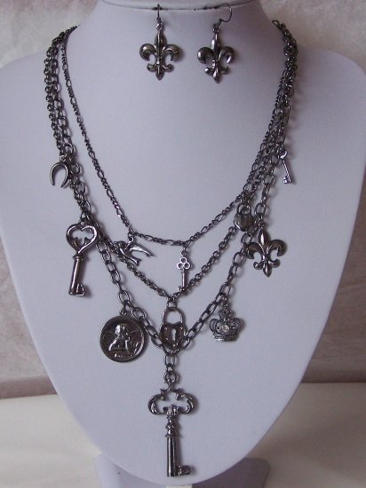 Heart Horseshoe Guardian Angel Key Fleur De Lis Necklace Set